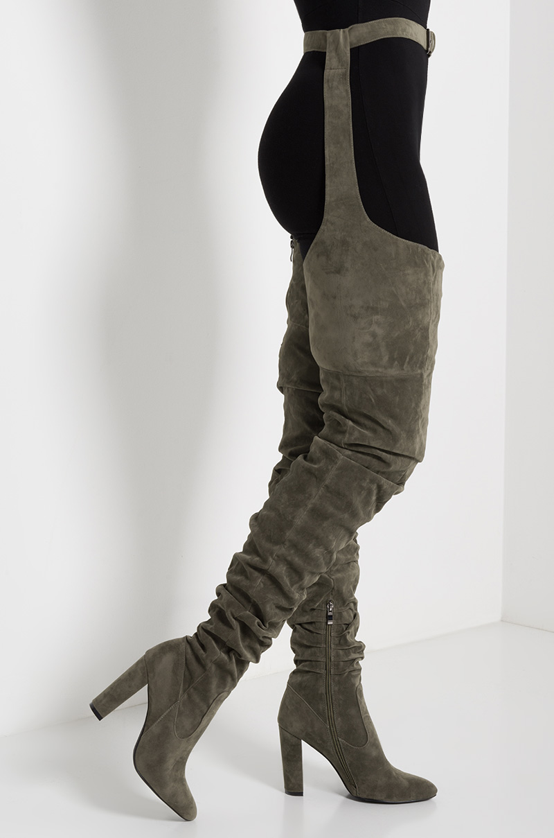 Faux Suede Pointed Toe Ruched Thigh High Belt Loop Boot In