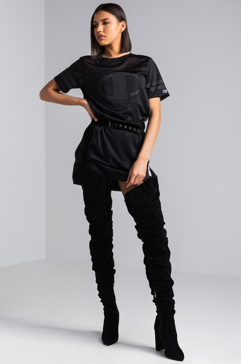 *preorder   expected ship date 1015* azalea wang harmony loop around thigh high faux suede boots  black suede 1