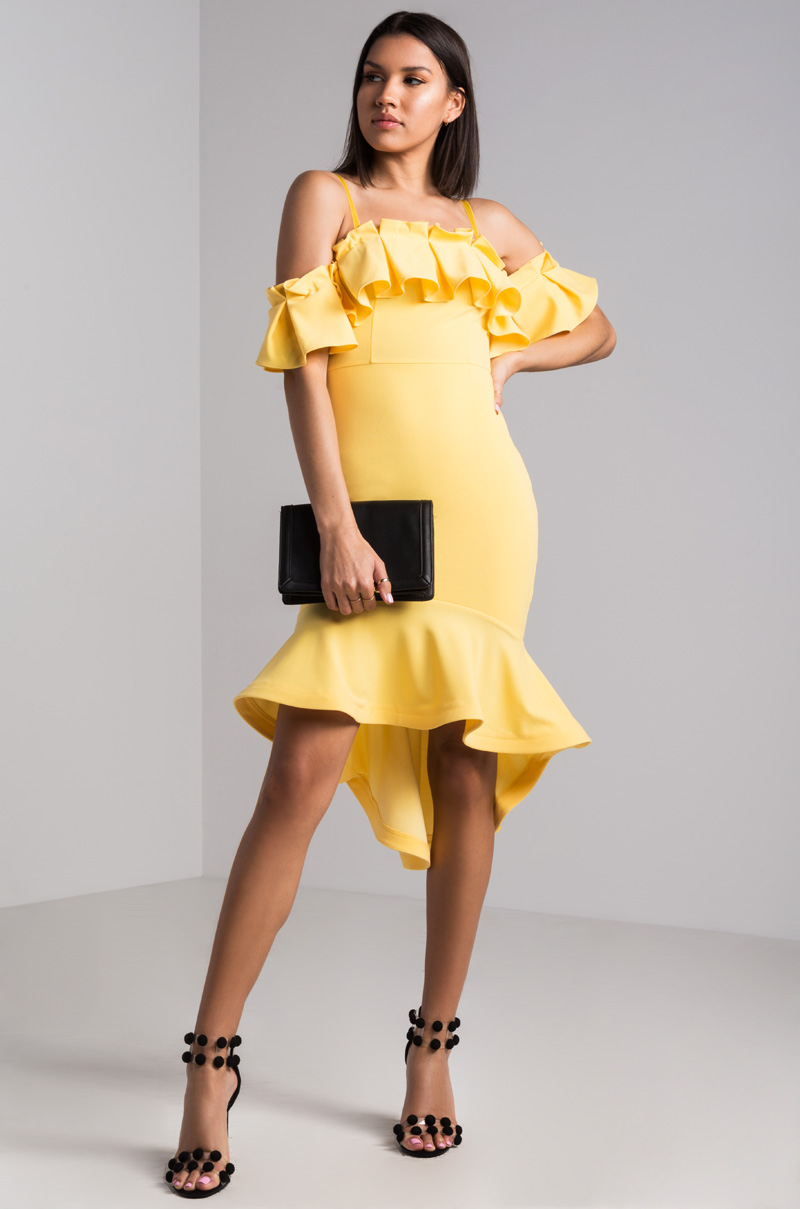 AKIRA Off Shoulder Ruffled Hi Lo Hem Bodycon Midi Dress in Yellow