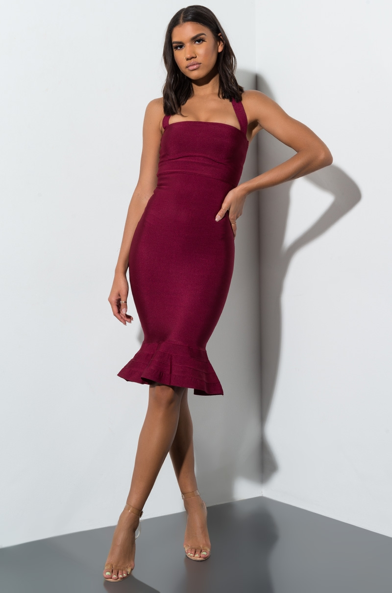 AKIRA Halter Top Bodycon Bandage Midi Dress in Lilac