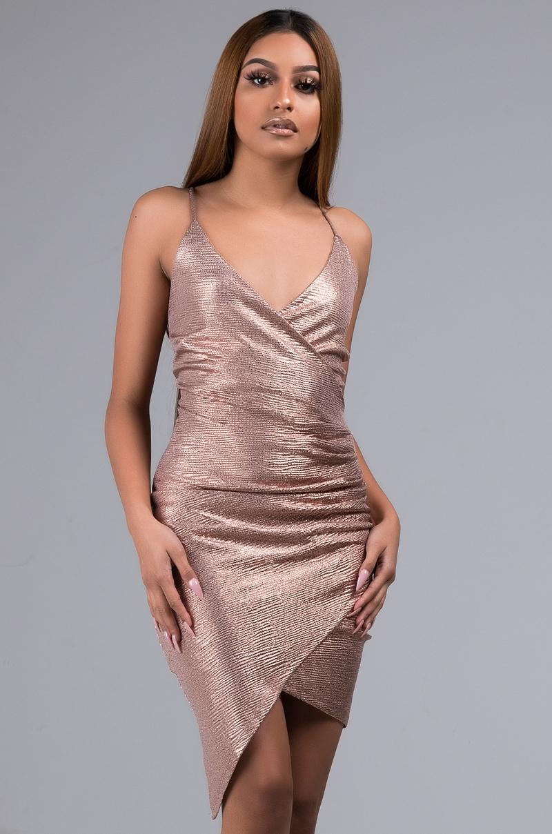 1376ae6ee0e AKIRA Label Sexy Asymmetric Ruched Glitter Mini Dress in Gold