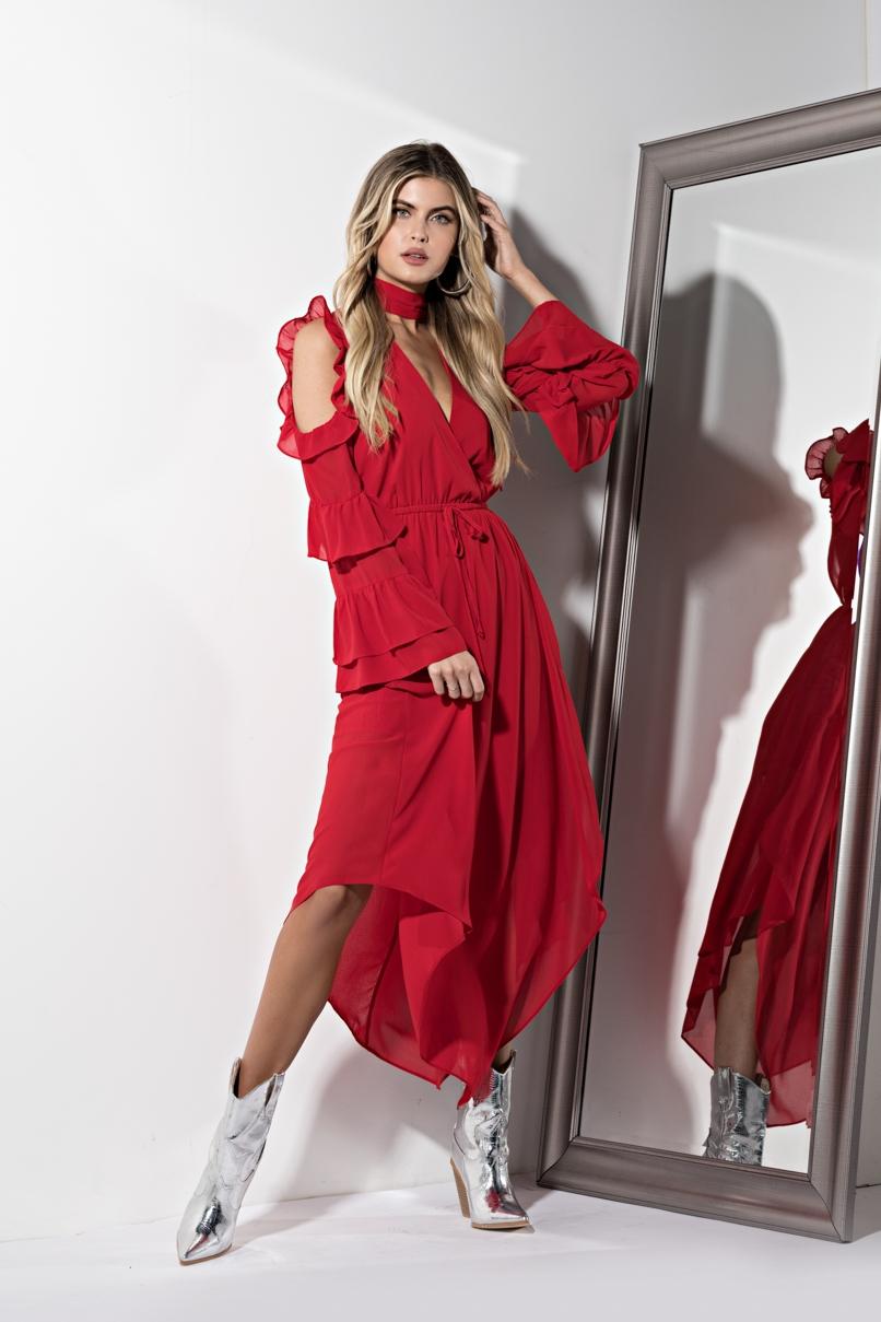 AKIRA Label Long Sleeve Ruffled High Collar Maxi Dress in Red
