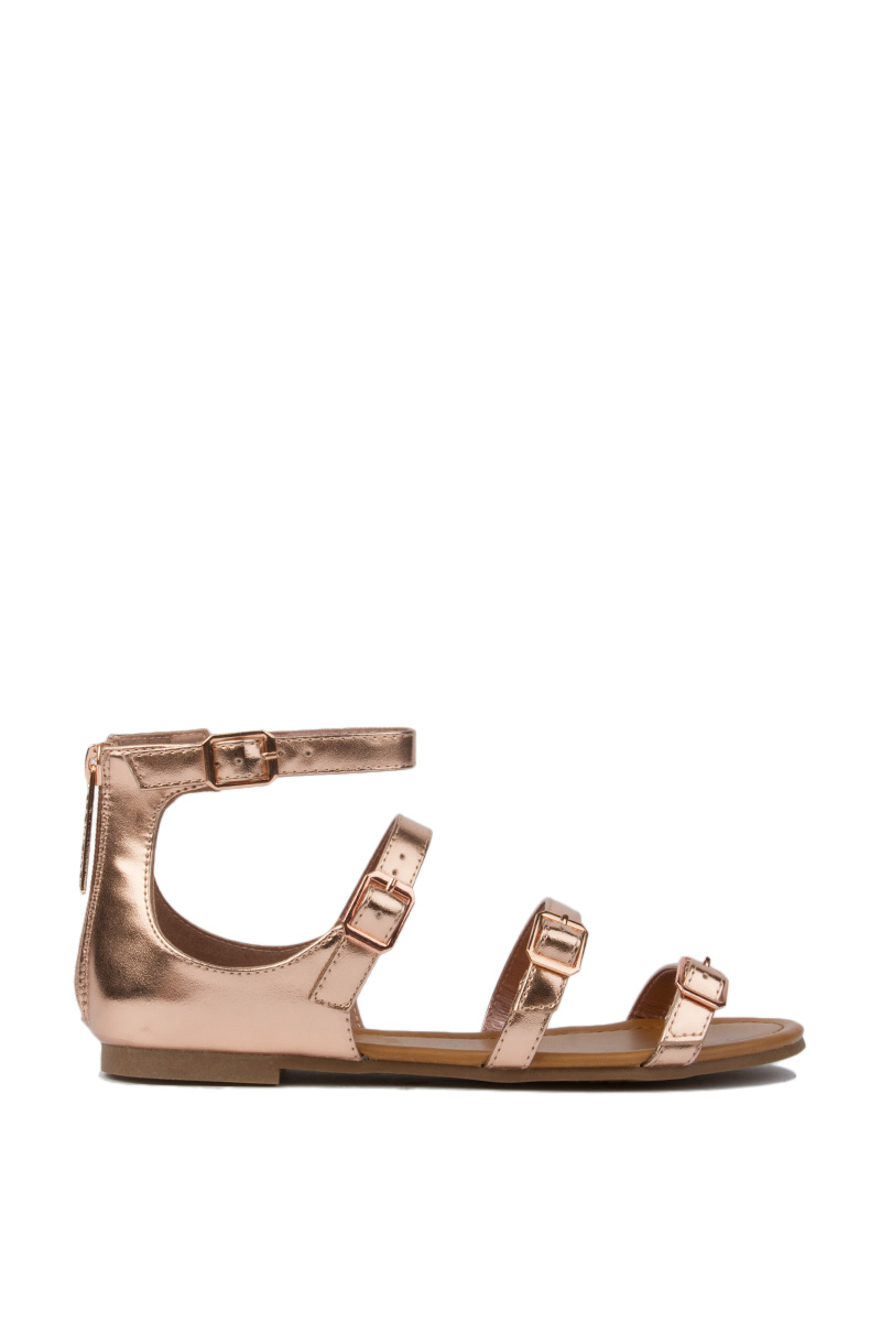 4 buckle straps flat sandals rose gold 1 fashion