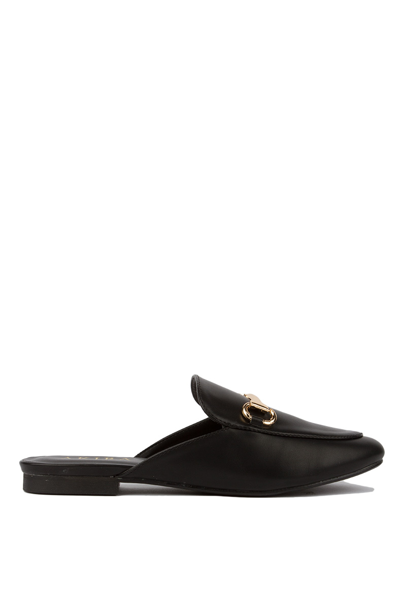 A couple bands on it slip on buckle detail loafer black 1