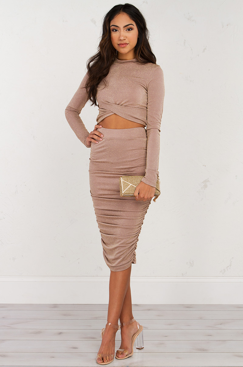 A little party midi skirt  taupe 1