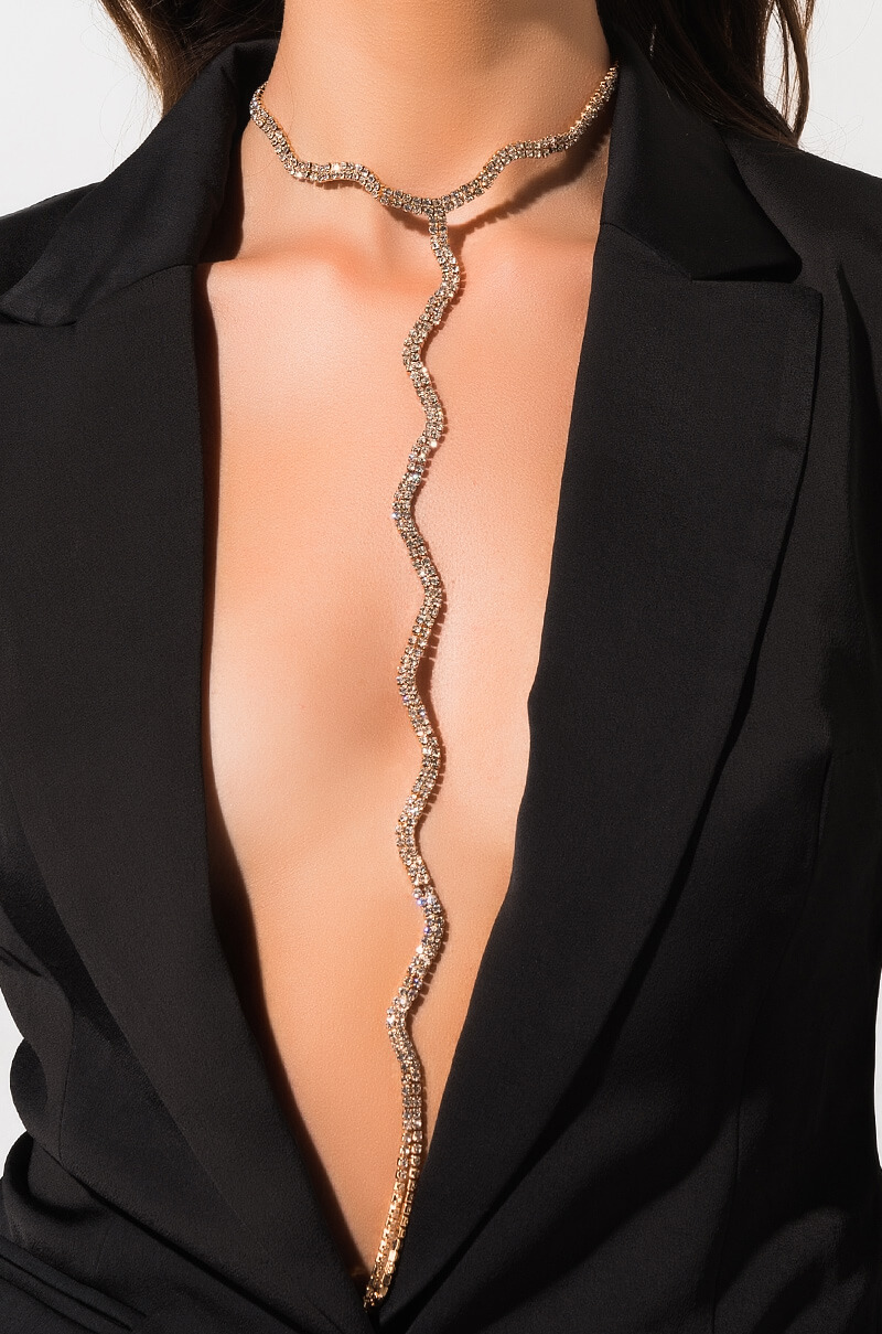 A Little Wiggle Room Long Rhinestone Necklace by Akira