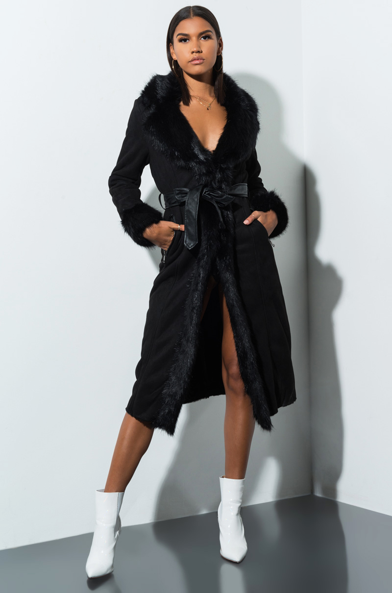 A million reasons fur trim suede trench coat  black 1