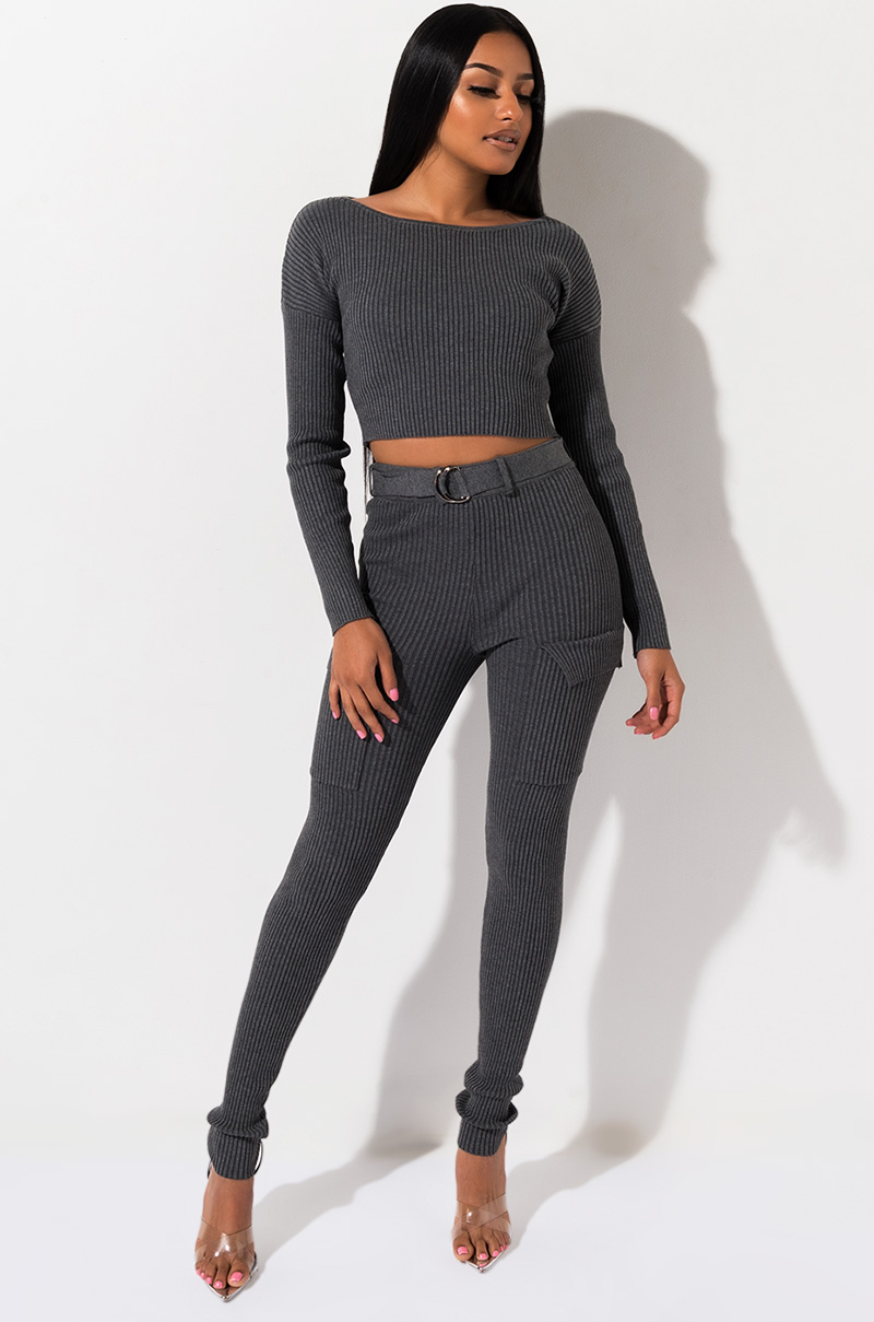 A Must Ribbed Belted Legging by Akira