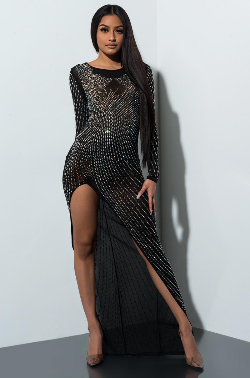 A touch of class rhinestone high slit maxi dress black silver 1