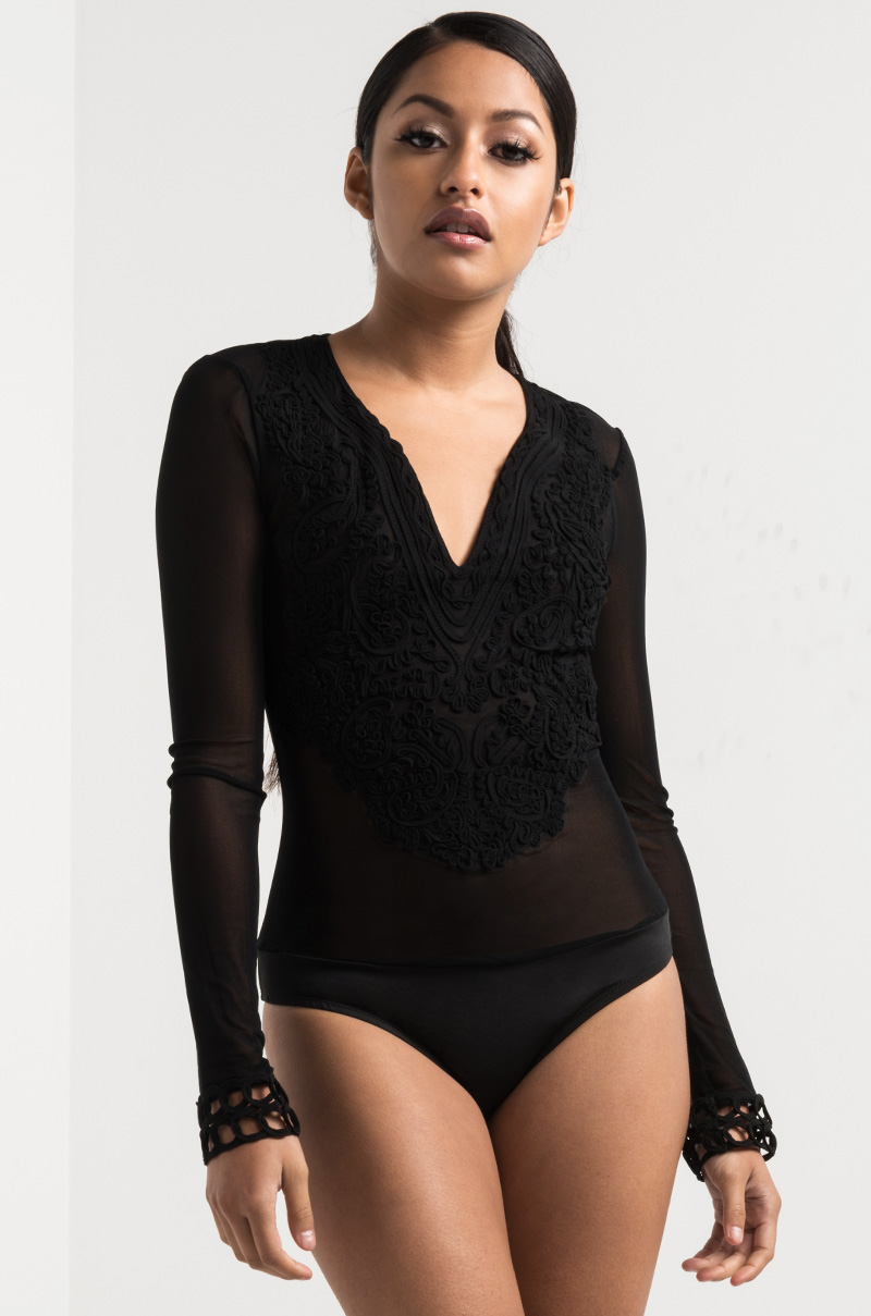 A trace of lace long sleeve bodysuit black 1