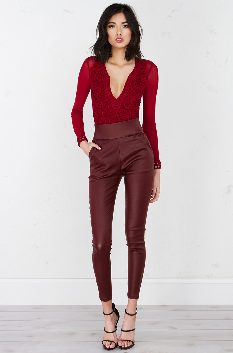 A trace of lace long sleeve bodysuit burgundy 1