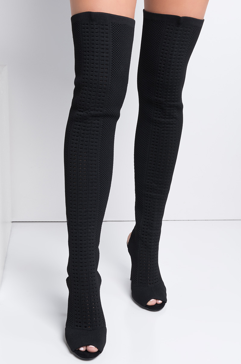 Addison thigh high open toe boots black 1