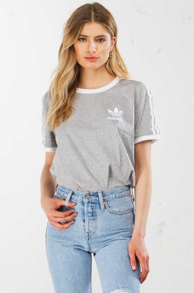 Adidas 3 stripes tee grey 1