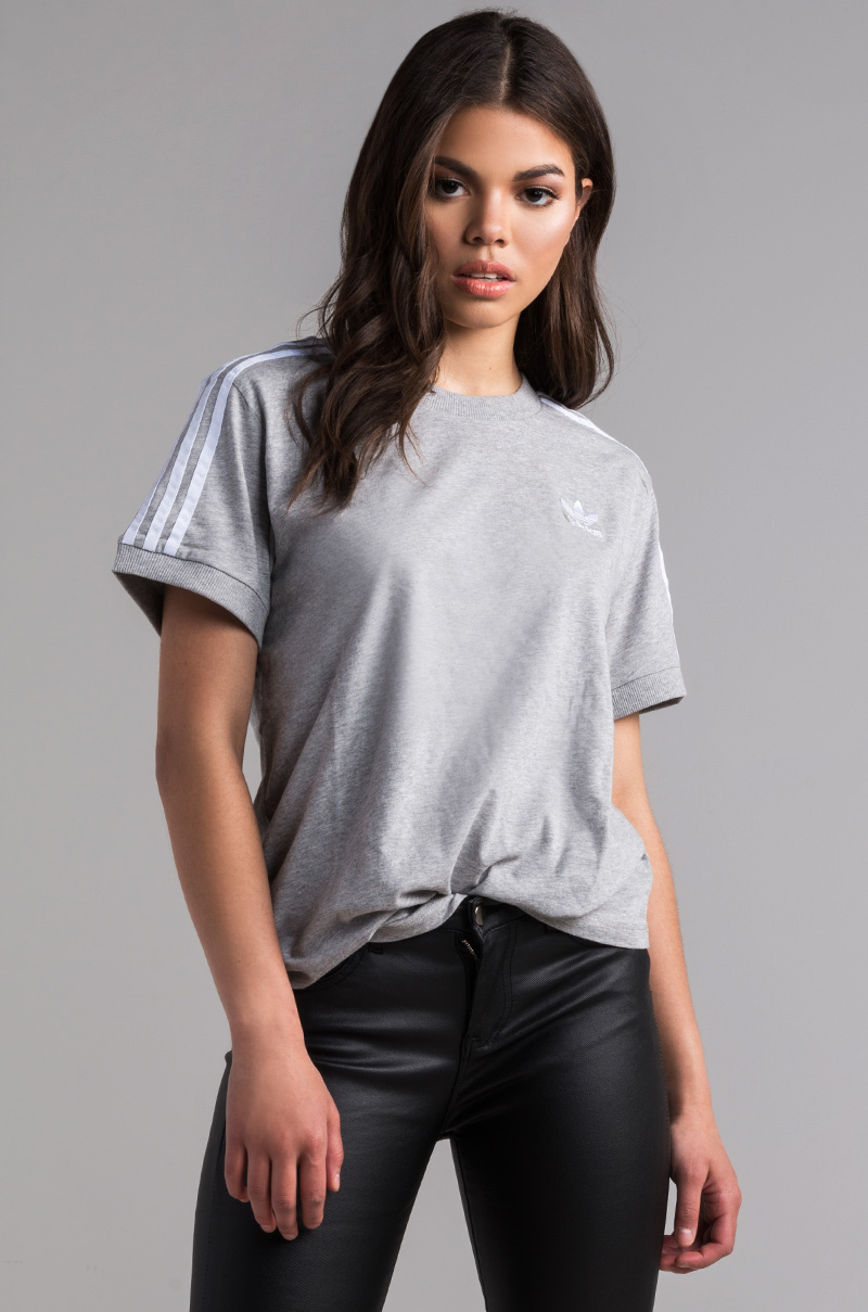 Adidas 3 stripes tee medium grey heather 1