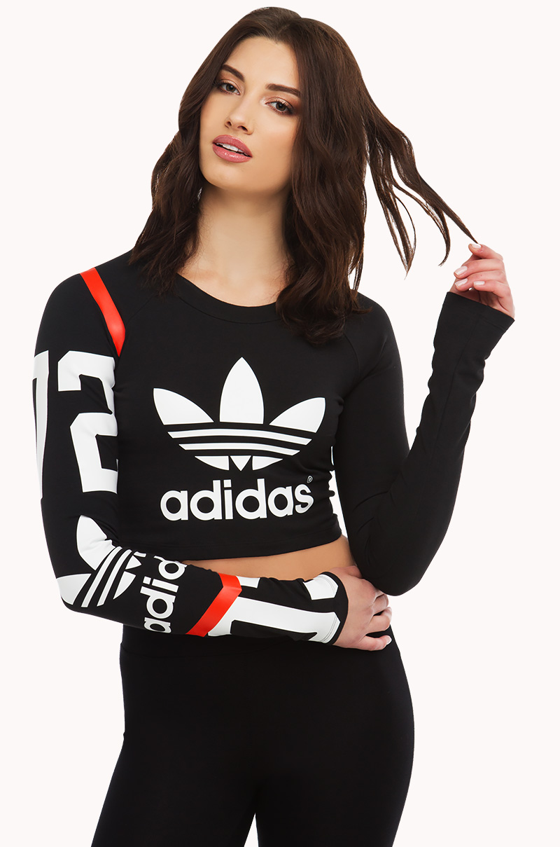 Crop Top Adidas Crop Tops Long Sleeve Numbered Crop