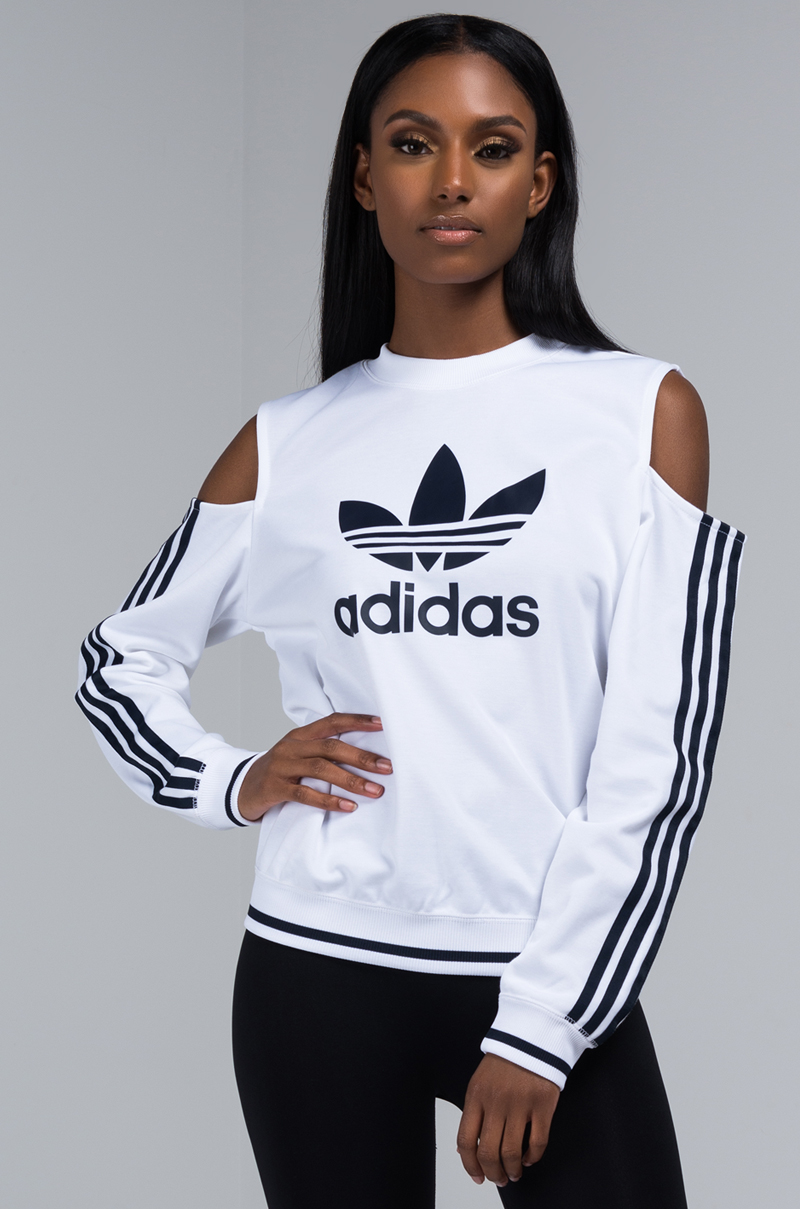 adidas Tops | Nwt Cut Out Sweatshirt Cold Shoulder Large
