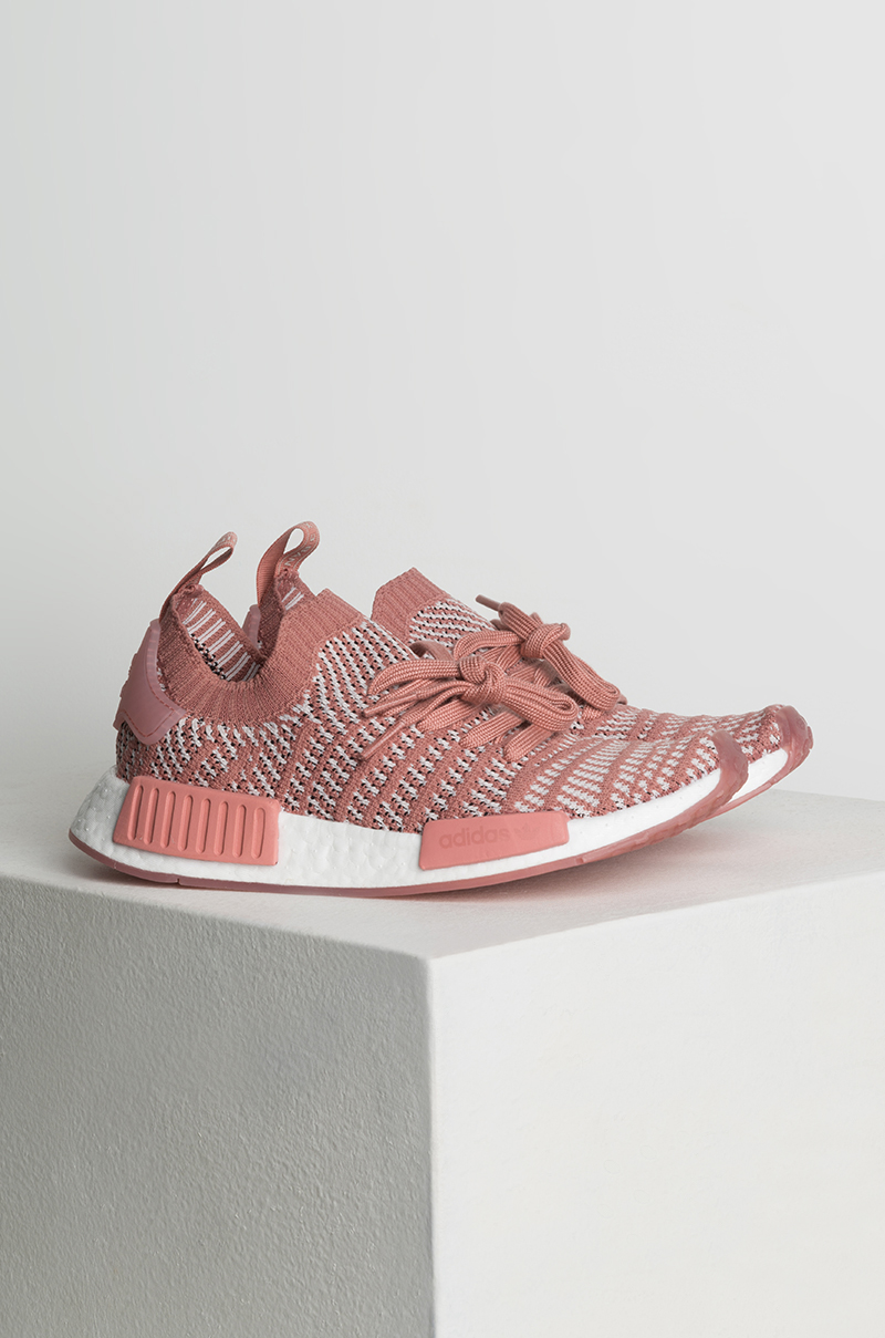 adidas Women s NMD R1 STLT Primeknit Sneakers in Pink Orctin White 2885decfe524