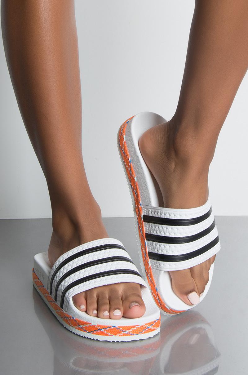 957bc99f476e41 adidas Adilette New Bold Slide in White Black White Stripe