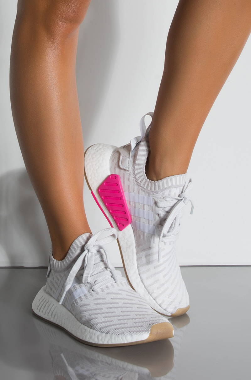 9bcc7d84f ADIDAS PrimeKnit Material Three Striped On Side Adjustable Shoelace  Sock-Like Tongue Flat Sole Sneaker in White White Shopin