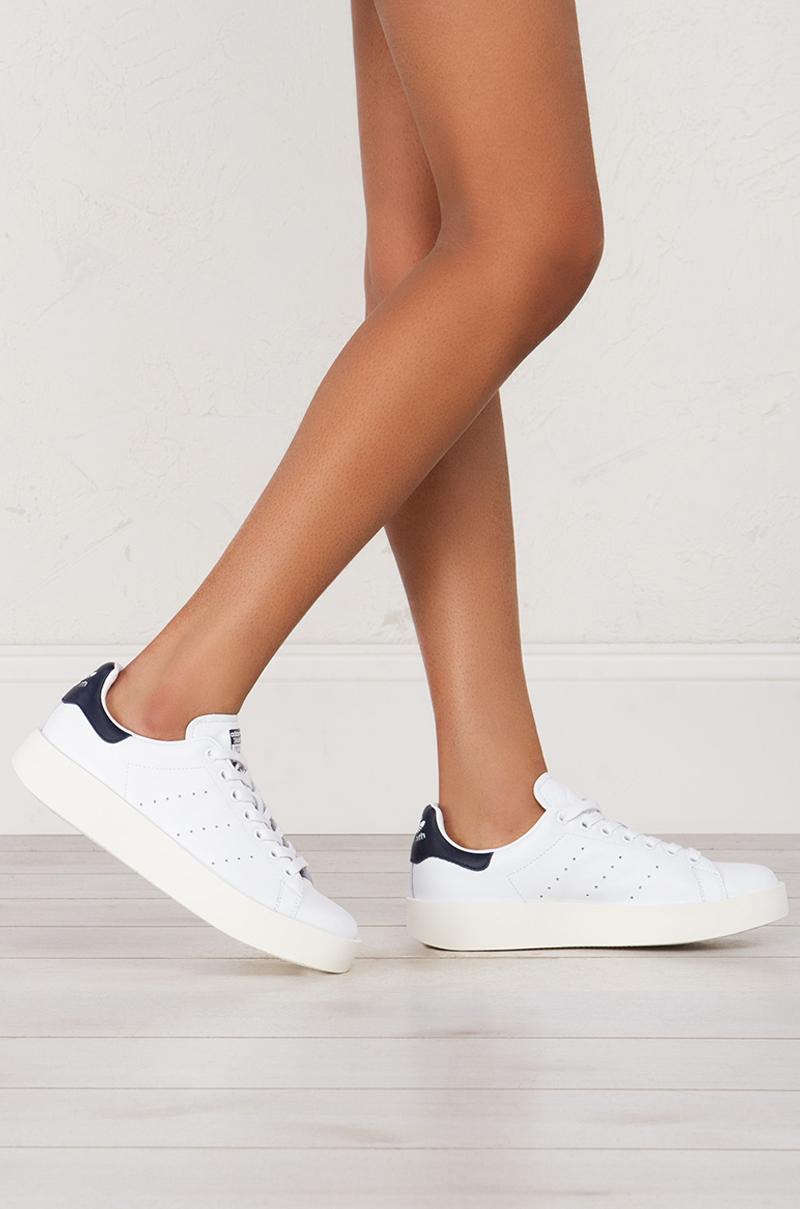 adidas stan smith bold sneakers in white white navy