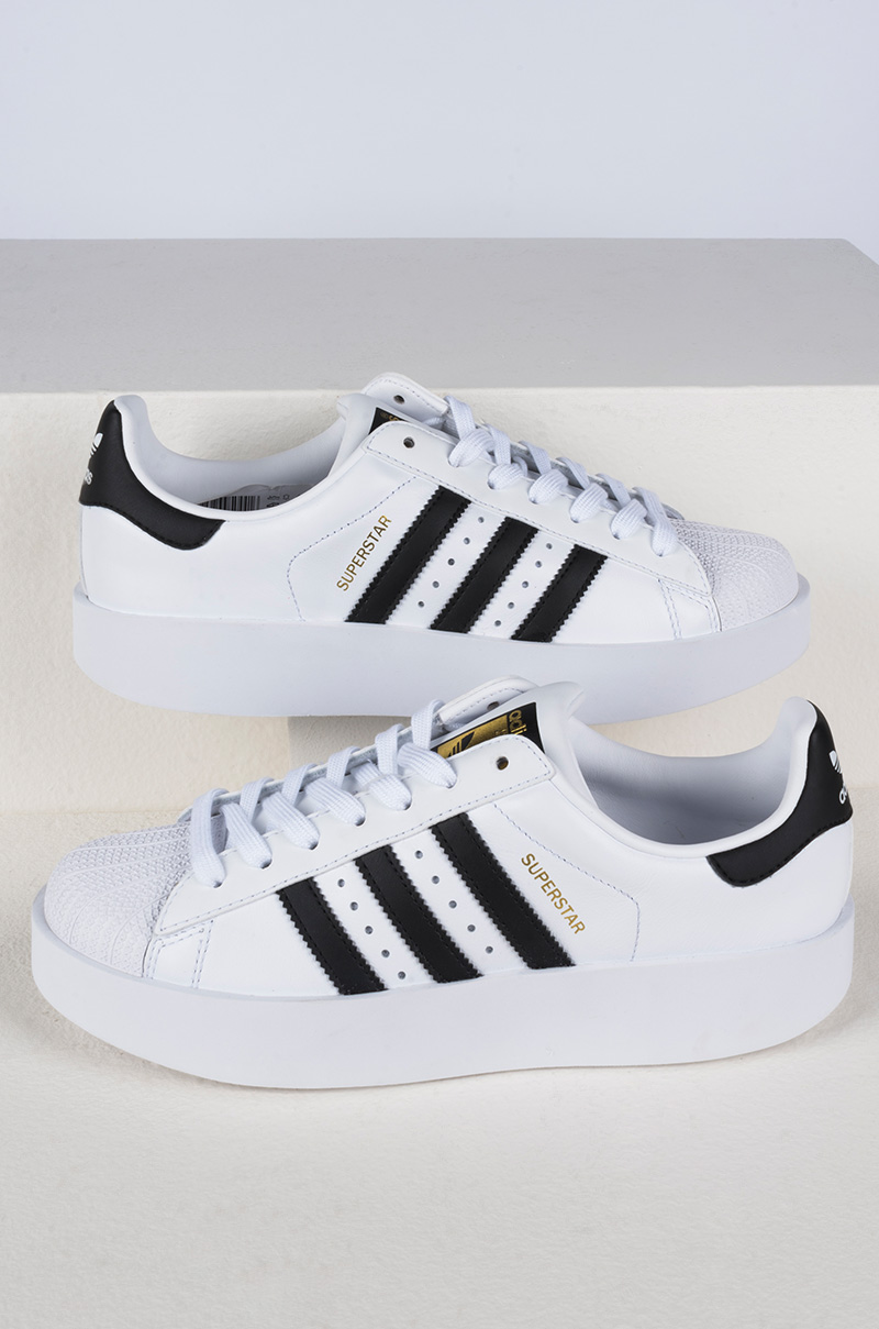 35f0bec1bccd adidas Three Stripe Flatform Lace Up Superstars in White Black Gold