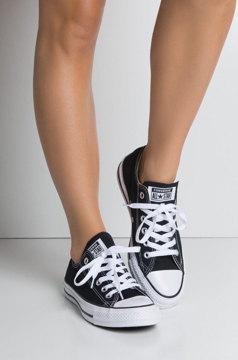 Converse Chuck Taylor Classic Low Top All Star XO Flat Imported Sneaker in  Black 737a96179827