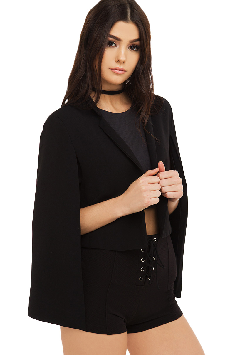 All the feels cape blazer black 1