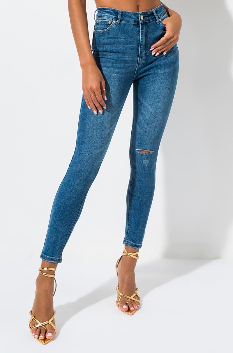 Anitta high rise skinny ripped knee denim mid blue 1
