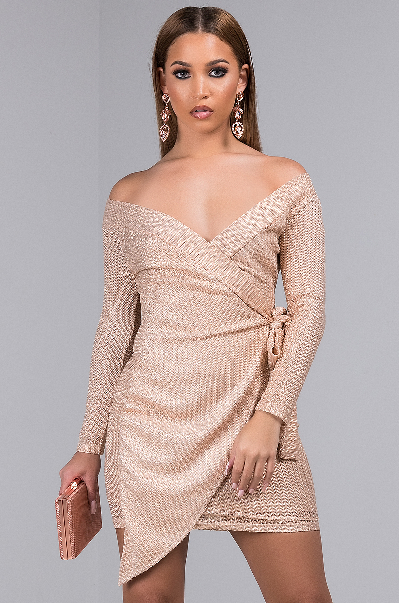 AKIRA Sexy Metallic Off Shoulder Bodycon Mini Dress with Long Sleeves in Mocha Silver
