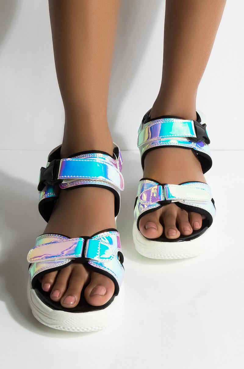 Azalea wang apologize or leave holographic flatform sandal hologram 1