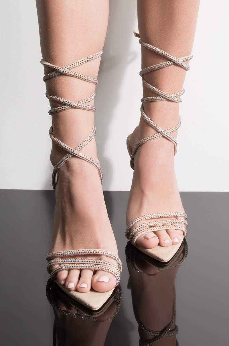 Azalea wang charmed stiletto heeled wrap up sandal beige 1