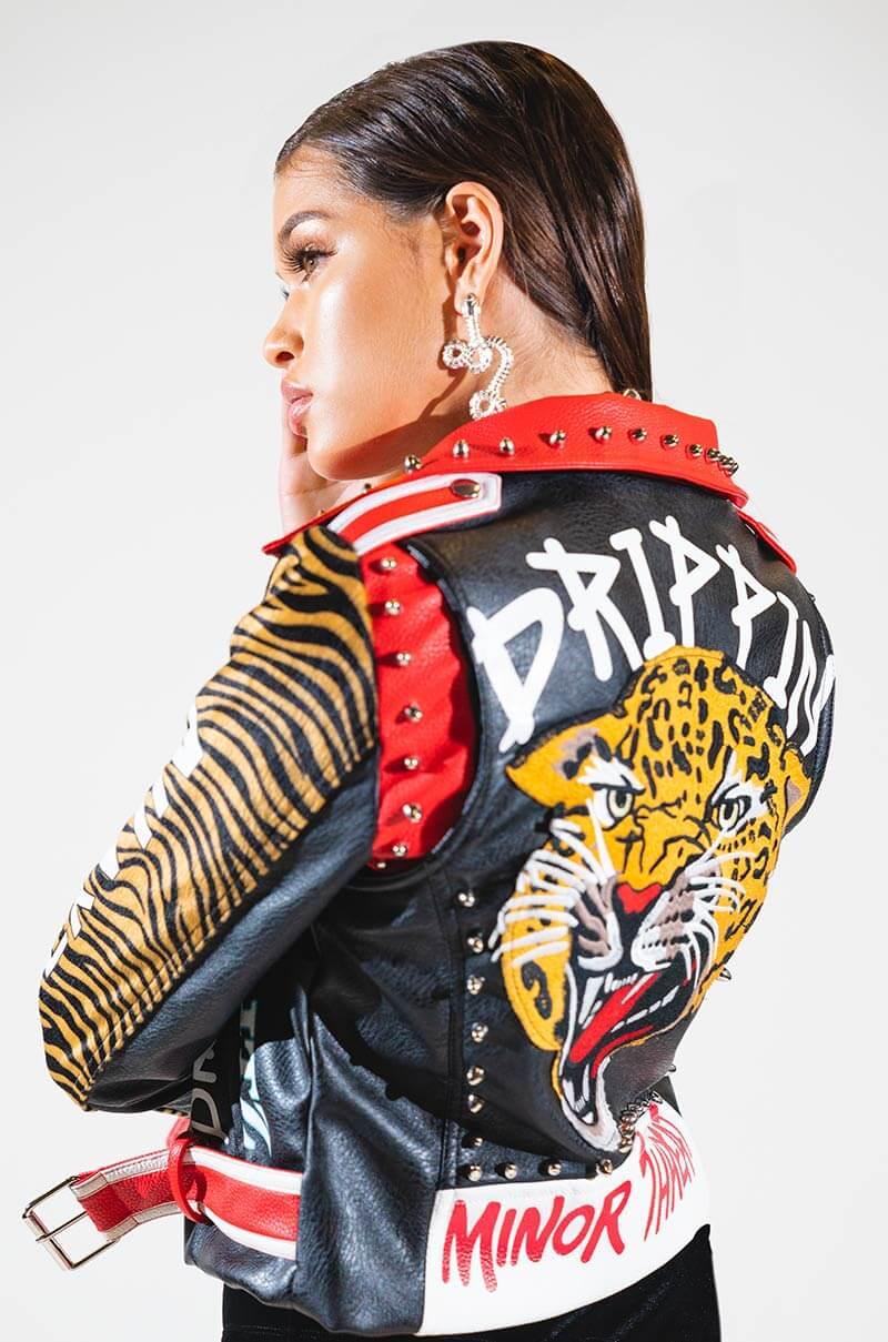 AZALEA WANG Animal Print Graffiti Text Studded Belted Faux Leather Moto Jacket In BLACK ZEBRA