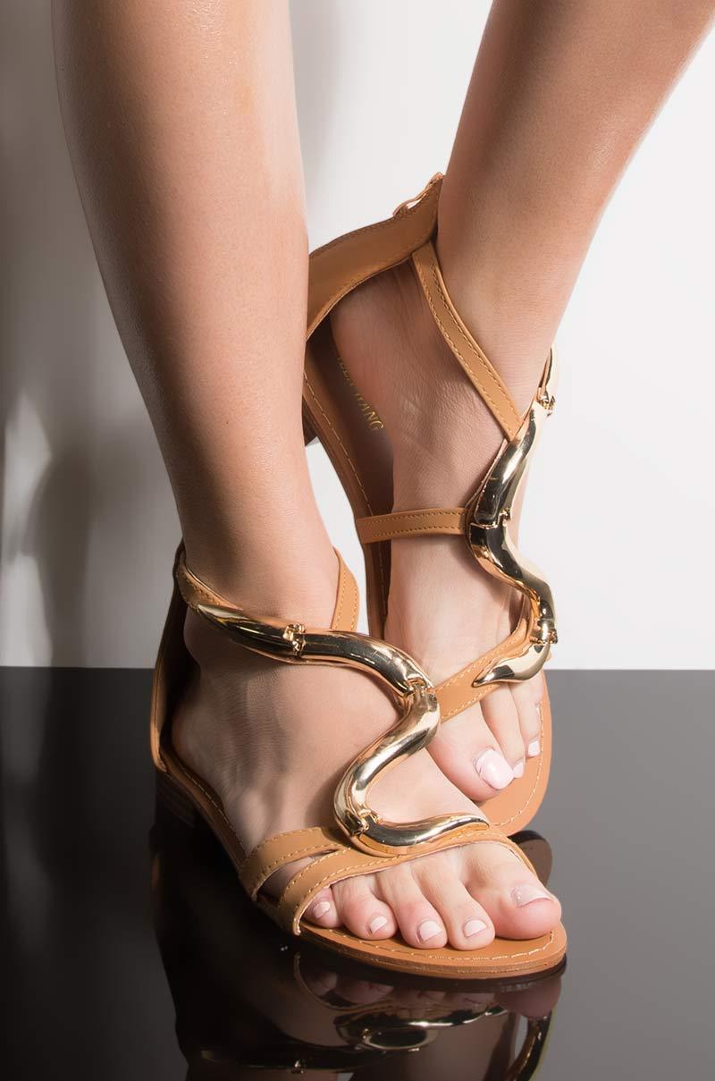 Azalea wang left you on read flat sandal tan nubuck 1
