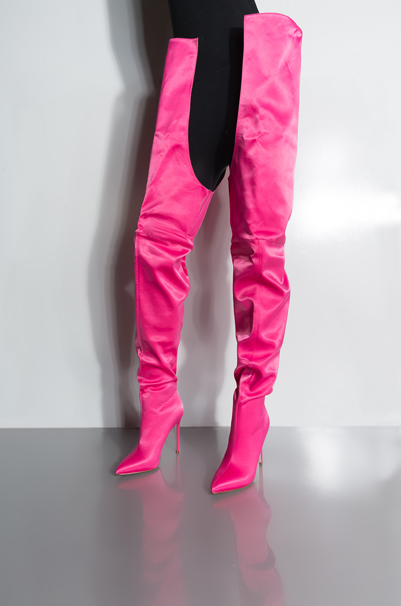 Akira Azalea Movin Onto Better Things Y Thigh High Stiletto Boots In Hot Pink