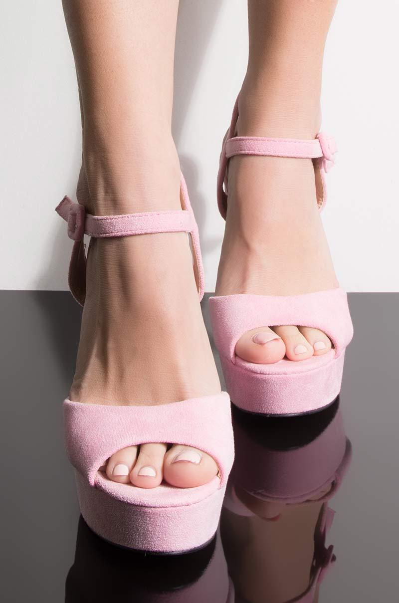 Azalea wang raise your glass baby heeled sandal pink suede 1