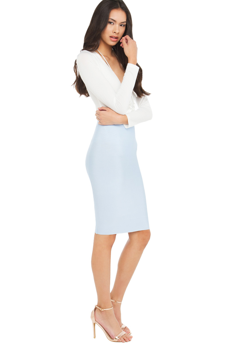 8e680d59306097 AKIRA Sexy Bandage BodyCon Skirt in Baby Blue and Copper