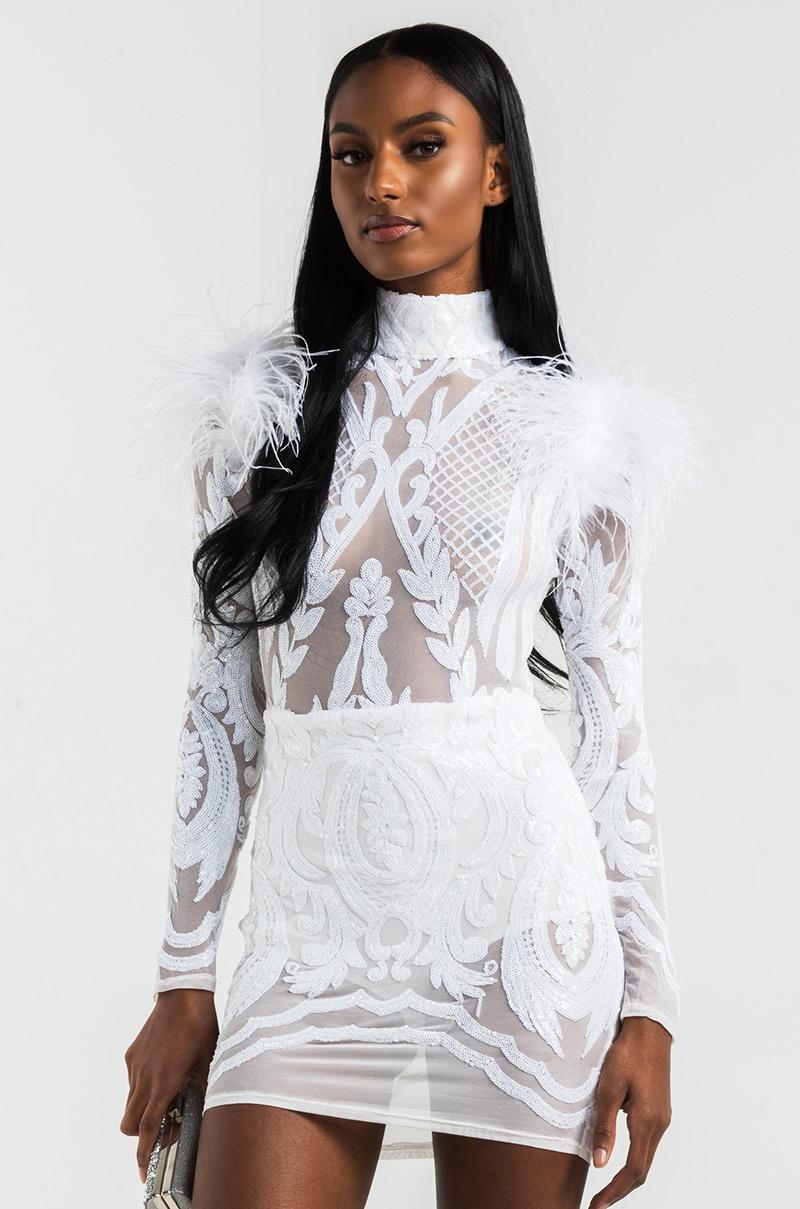 cfde9e3fa80 AKIRA Feather Sleeve Mock Neck Sequin Sheer Bodycon Mini Dress in White,  Black, Burgundy