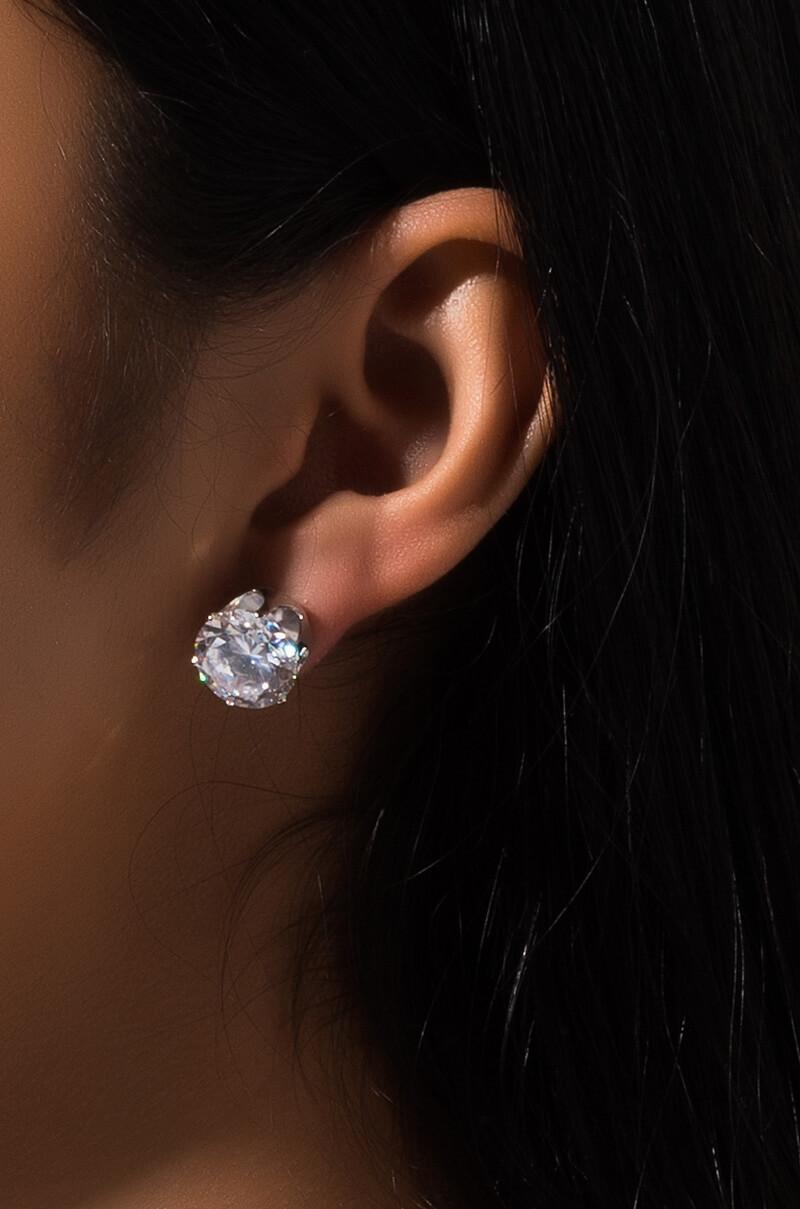 Akira Label Oversize Faux Diamond Stud Earring In Silver Gold