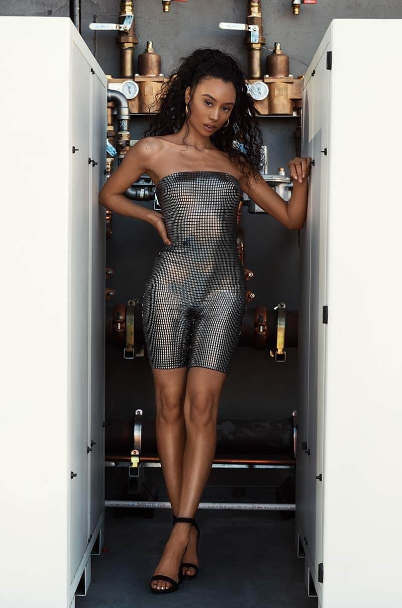 ca0de7a346a7 AKIRA Here For The Applause Sparkle Romper.  30. AKIRA Tell Em Bodycon  Hologram Strapless Romper