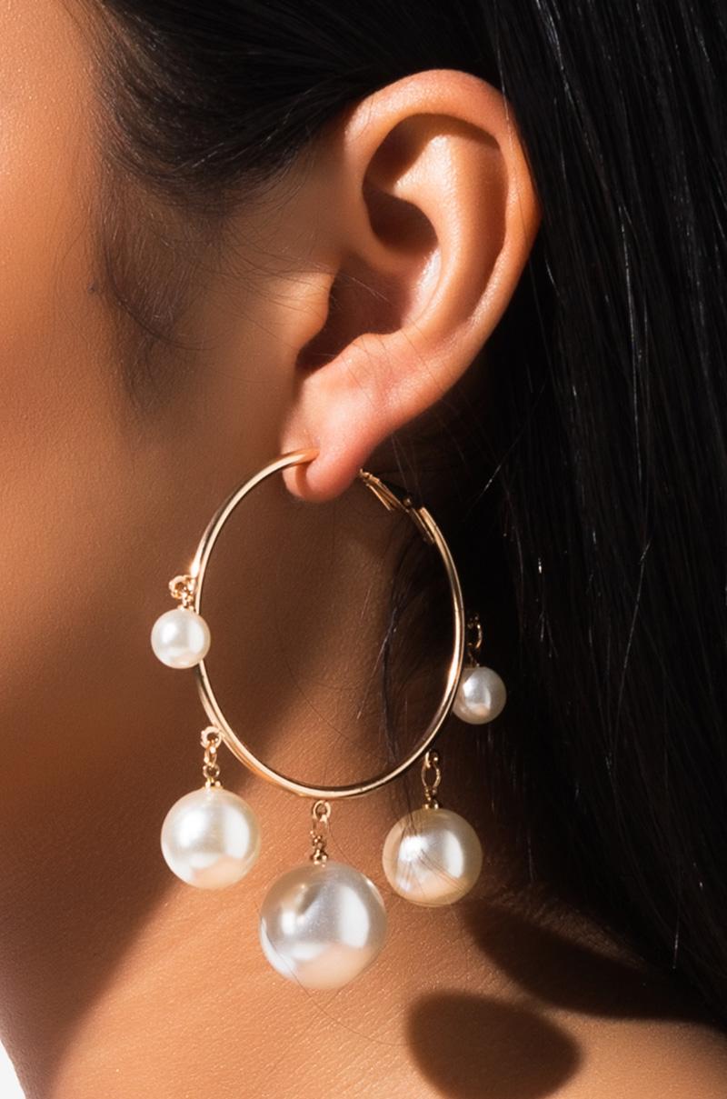 Blow Ya Mind Pearl Hoop Earring by Akira