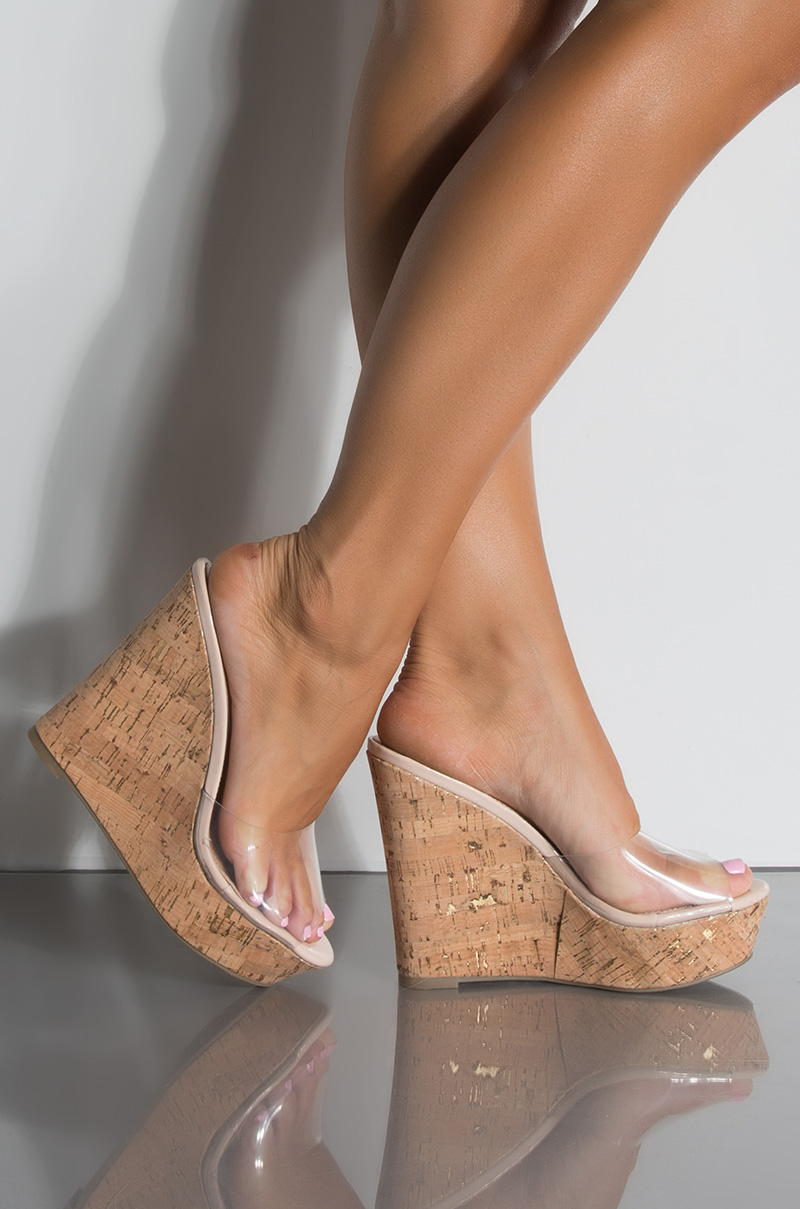 8db9a86dcd8 Metallic Perspex High Wedge Heel Platform Sole Slides PVC Open Toe Sandals  in Gold