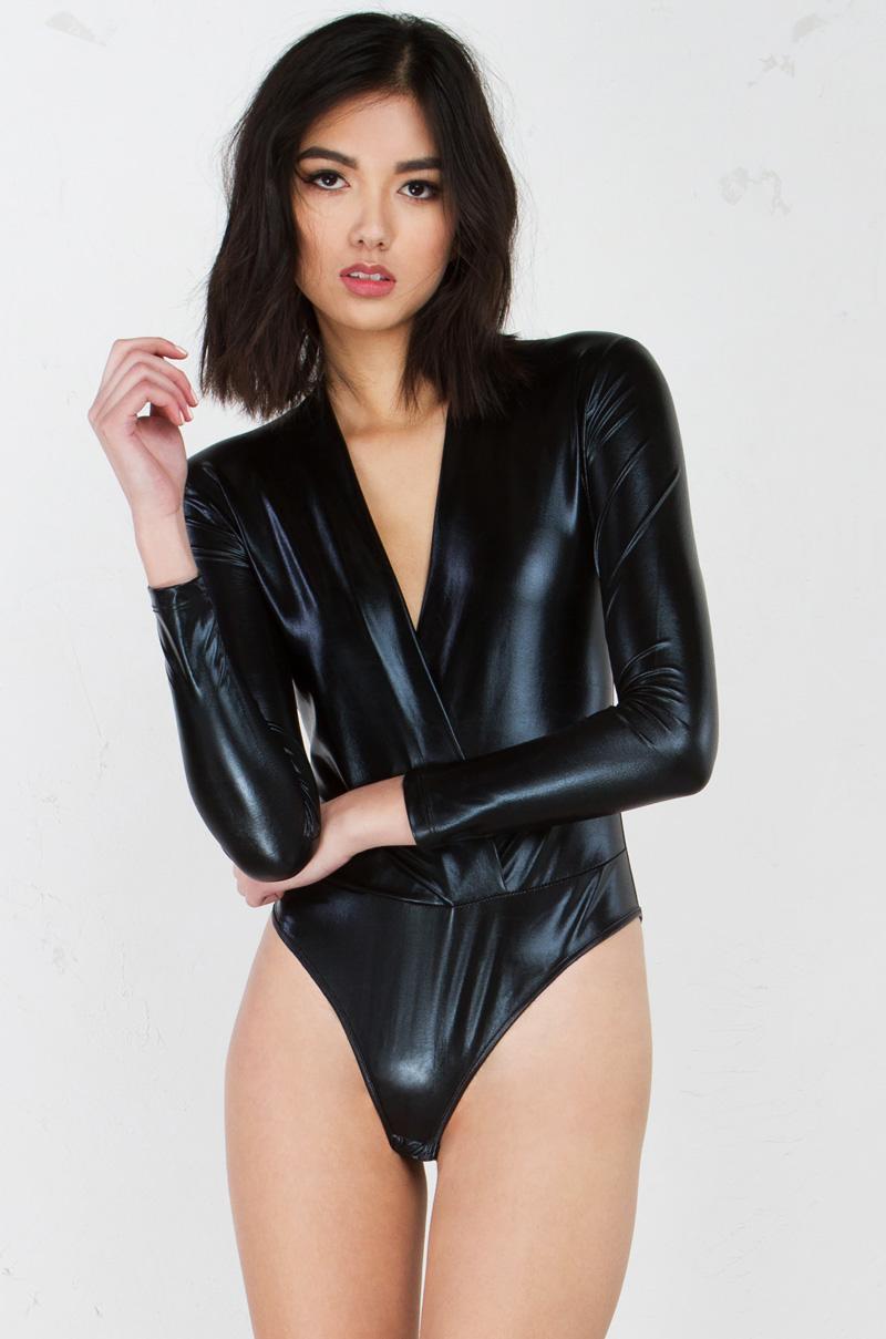 Metallic Long Sleeve Bodysuit In Black And Gold