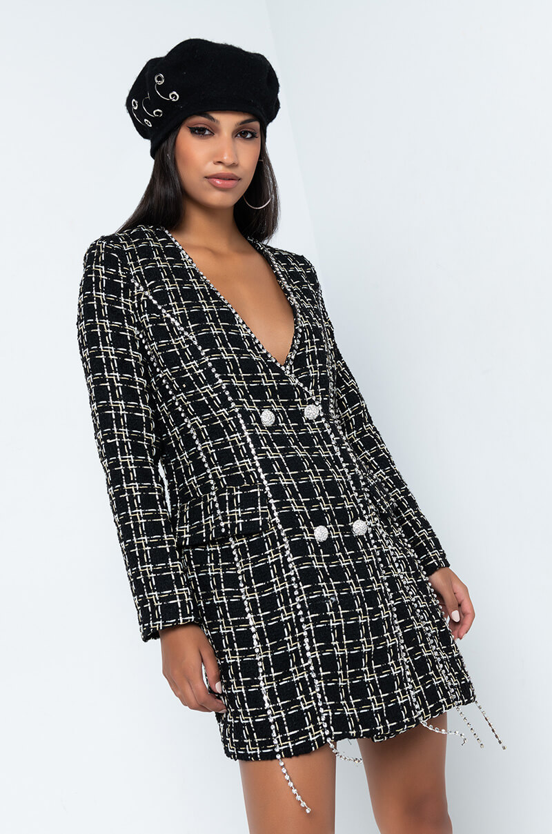 BRUNCH FOR TWO LONG SLEEVE TWEED COAT