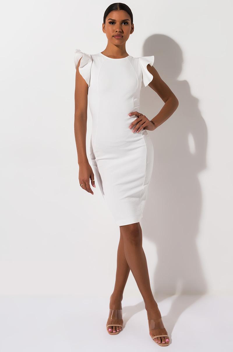 AKIRA Label Bodycon Ruffle Sleeve Midi Dress in White