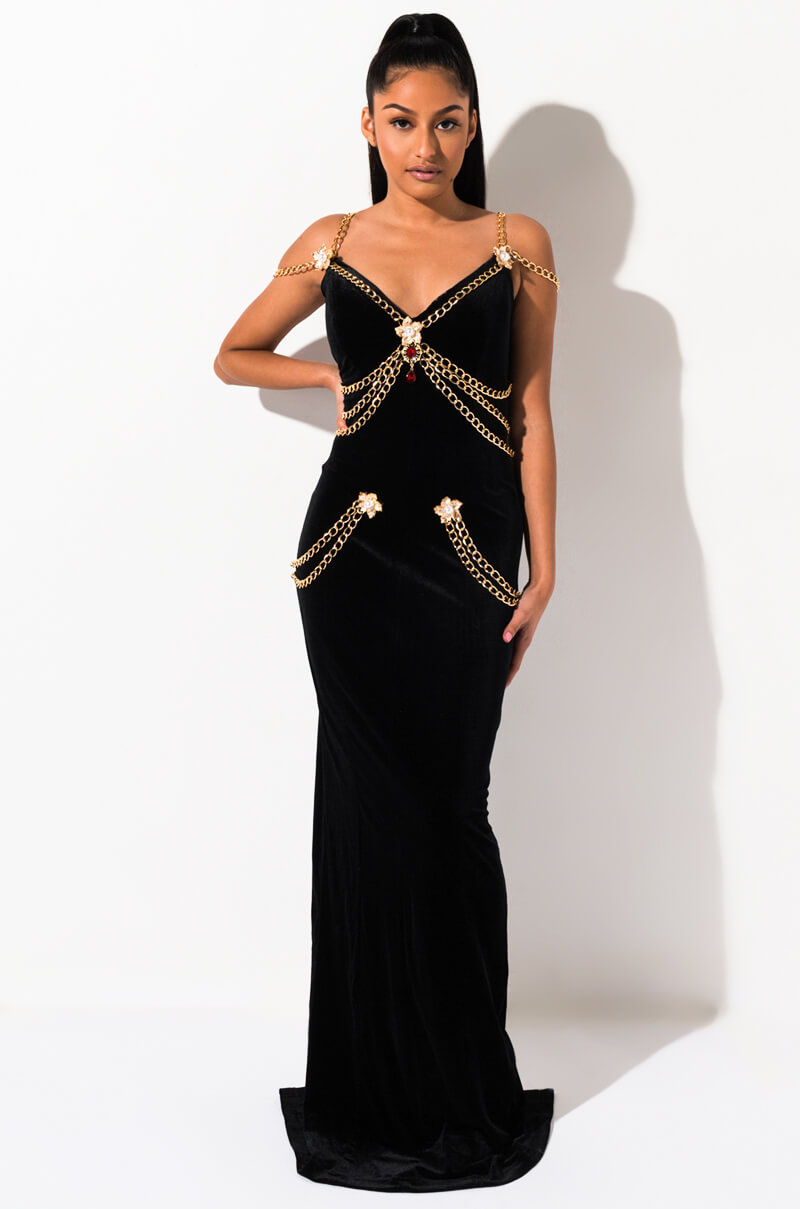 AKIRA Label Velvet Bodycon Chain Embellished Maxi Gown in Black