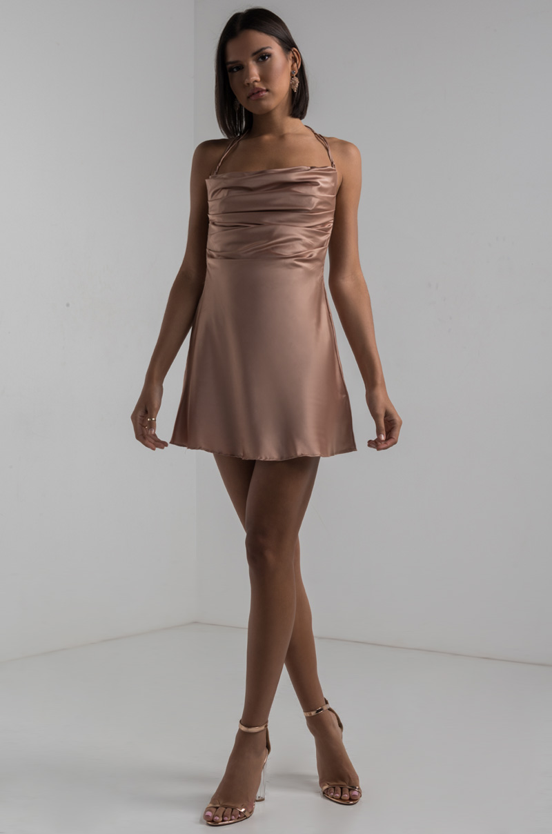fabfbc32a1cc AKIRA Straight Neck Ruched Front Thin Straps Backless Silky A Line Mini  Dress in Tan
