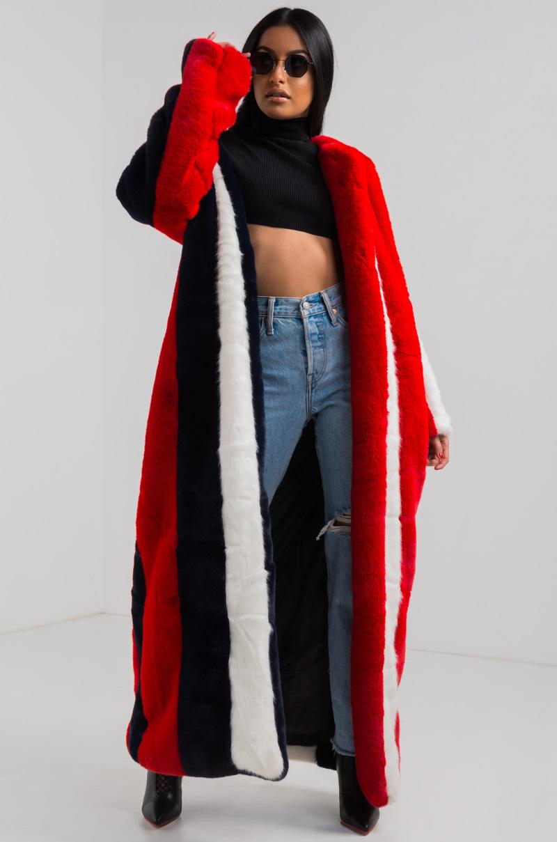 Long Faux Fur Striped Coat In Red Black White