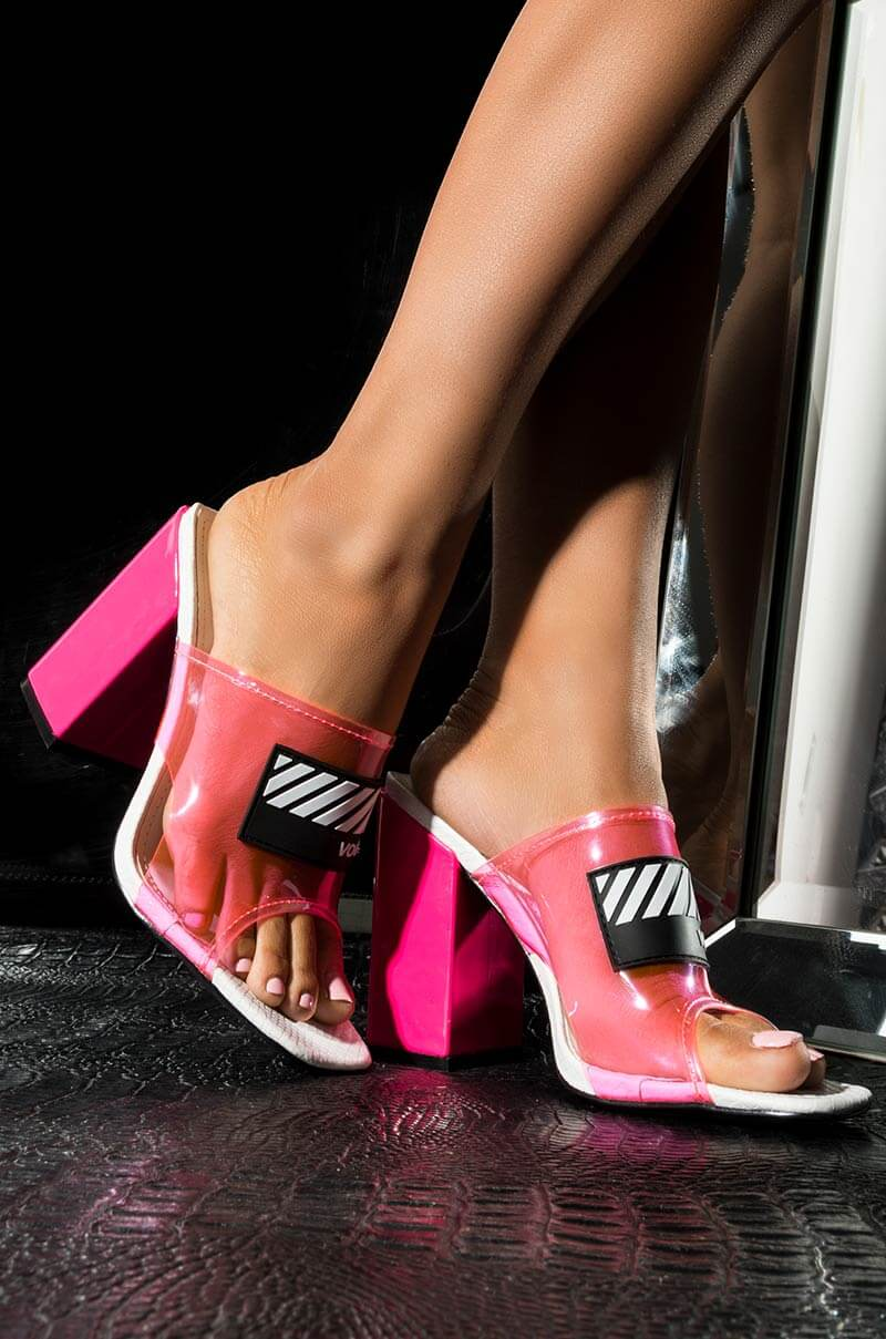 ffd85712a7 CAPE ROBBIN PVC Animal Print Chunky Sexy Heels Sandal, In Lime, Pink
