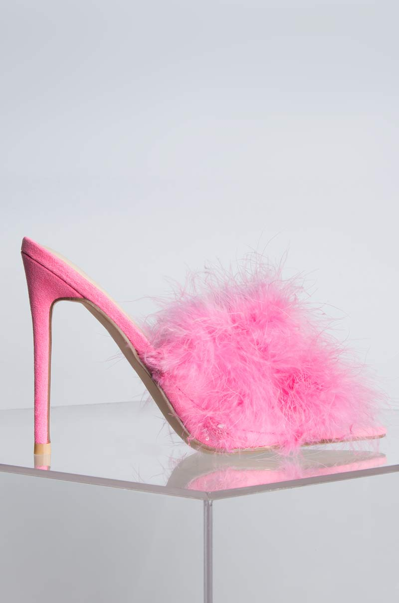 1f45cc56e82 CAPE ROBBIN Faux Fur Pointed Toe Stiletto Heel Slip On Sandal, In ...