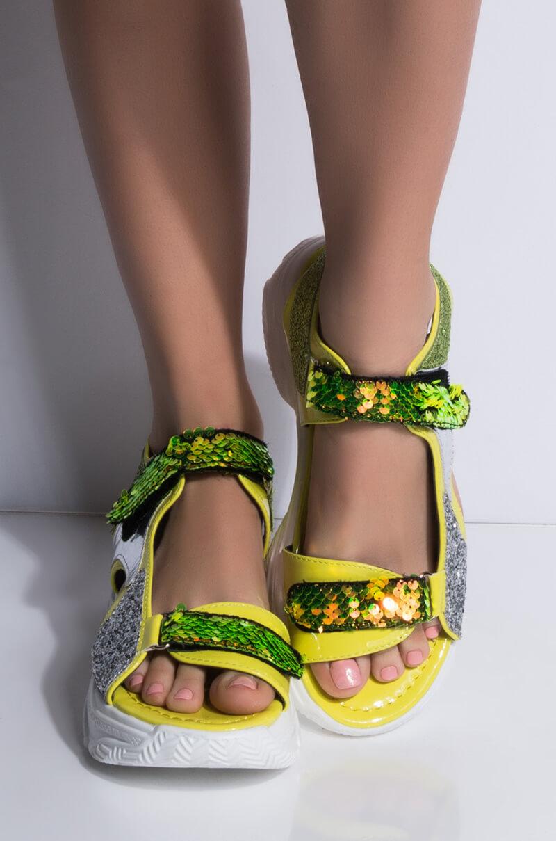 8ac968914ce CAPE ROBBIN Glitter Sequin Neon Faux Patent Leather Strappy Chunky Sole  Sandal